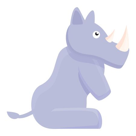 Staying rhino icon. Cartoon of staying rhino vector icon for web design isolated on white background 向量圖像