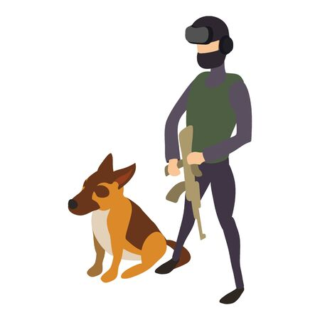 Police cynologist dog icon. Isometric of police cynologist dog vector icon for web design isolated on white background