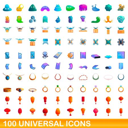 100 universal icons set. Cartoon illustration of 100 universal icons vector set isolated on white background Foto de archivo - 149544247