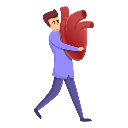 Cardiologist take big heart icon. Cartoon of cardiologist take big heart vector icon for web design isolated on white background