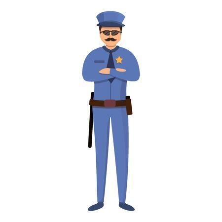 Prison police guard icon. Cartoon of prison police guard vector icon for web design isolated on white background Ilustración de vector