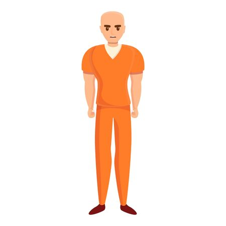 Bald prison person icon. Cartoon of bald prison person vector icon for web design isolated on white background