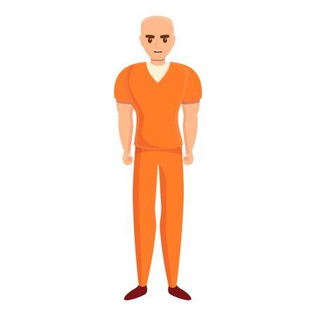 Bald prison person icon. Cartoon of bald prison person vector icon for web design isolated on white background