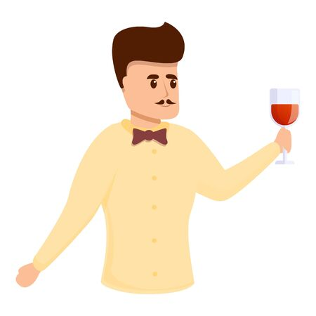 Expert sommelier icon. Cartoon of expert sommelier vector icon for web design isolated on white background