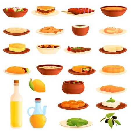 Greece food icons set. Cartoon set of Greece food vector icons for web design