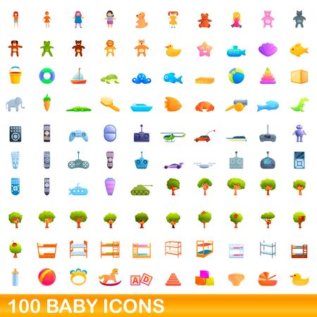 100 baby icons set. Cartoon illustration of 100 baby icons vector set isolated on white background Illustration