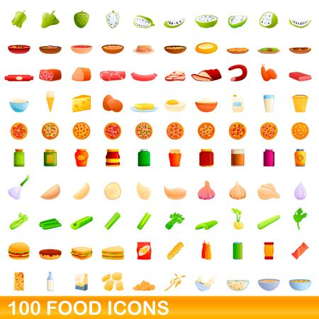 100 food icons set. Cartoon illustration of 100 food icons vector set isolated on white background 일러스트