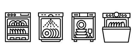 Dishwasher icons set. Outline set of dishwasher vector icons for web design isolated on white background Vector Illustratie