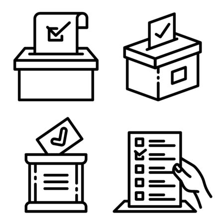 Ballot icons set. Outline set of ballot vector icons for web design isolated on white background