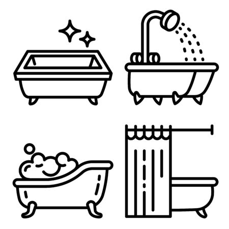 Bathtub icons set. Outline set of bathtub vector icons for web design isolated on white background
