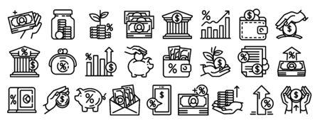 Deposit icons set. Outline set of deposit vector icons for web design isolated on white background Illusztráció