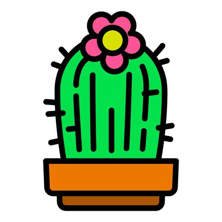 Flower cactus icon. Outline flower cactus vector icon for web design isolated on white background 向量圖像