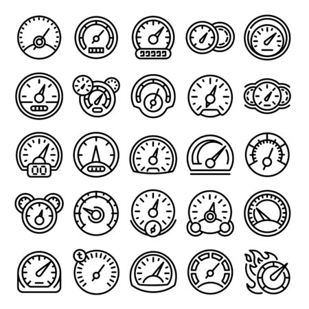 Speedometer icons set. Outline set of speedometer vector icons for web design isolated on white background