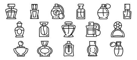 Fragrance bottles icons set. Outline set of fragrance bottles vector icons for web design isolated on white background