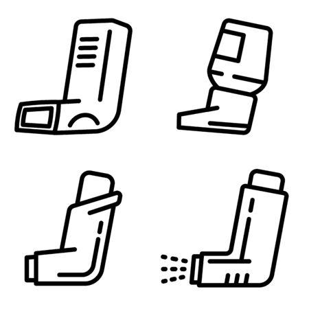 Inhaler icons set. Outline set of inhaler vector icons for web design isolated on white background Ilustracja