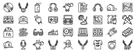 Hiphop icons set. Outline set of hiphop vector icons for web design isolated on white background Çizim