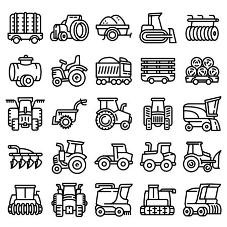 Farming equipment icons set. Outline set of farming equipment vector icons for web design isolated on white background