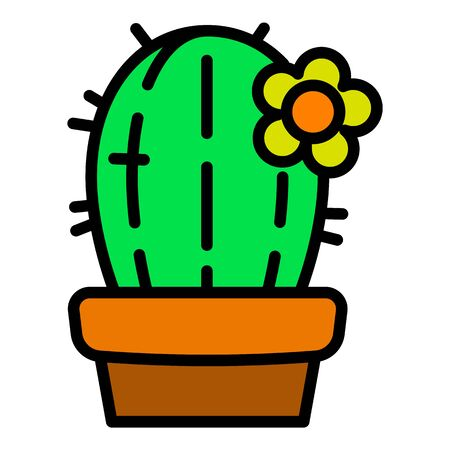 Cactus plant pot icon. Outline cactus plant pot vector icon for web design isolated on white background