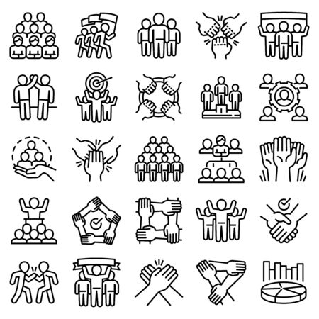 Cohesion icons set. Outline set of cohesion vector icons for web design isolated on white background