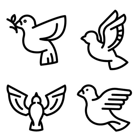 Dove icons set. Outline set of dove vector icons for web design isolated on white background