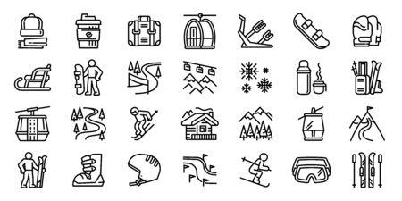 Ski resort icons set. Outline set of ski resort vector icons for web design isolated on white background