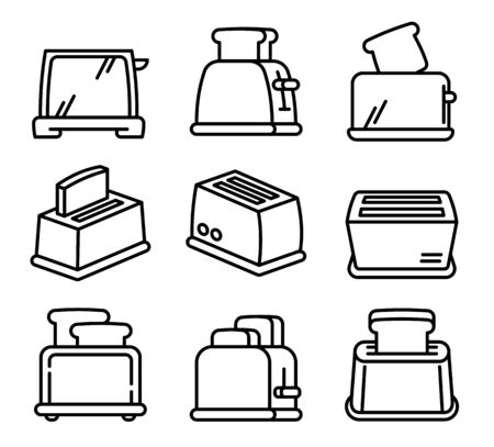 Toaster icons set. Outline set of toaster vector icons for web design isolated on white background