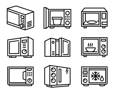 Microwave icons set. Outline set of microwave vector icons for web design isolated on white background 向量圖像