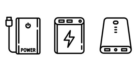 Power bank icons set. Outline set of power bank vector icons for web design isolated on white background