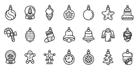 Christmas tree toys icons set. Outline set of Christmas tree toys vector icons for web design isolated on white background