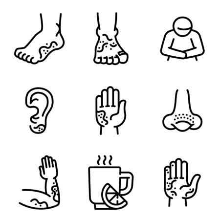 Frostbite icons set. Outline set of frostbite vector icons for web design isolated on white background Ilustração