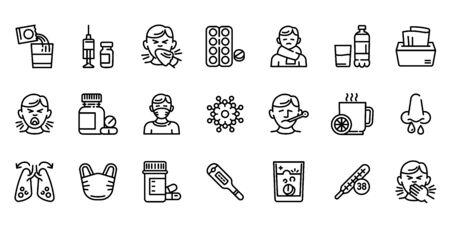 Flu icons set. Outline set of flu vector icons for web design isolated on white background Ilustracja