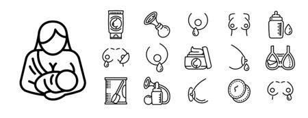 Breastfeeding icons set. Outline set of breastfeeding vector icons for web design isolated on white background