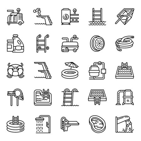 Pool equipment icons set. Outline set of pool equipment vector icons for web design isolated on white background