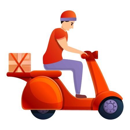 Scooter parcel delivery icon. Cartoon of scooter parcel delivery vector icon for web design isolated on white background