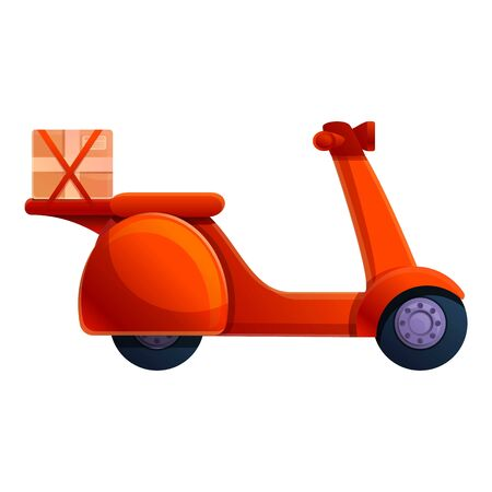 Courier red scooter icon. Cartoon of courier red scooter vector icon for web design isolated on white background