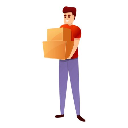 Smiling courier with boxes icon. Cartoon of smiling courier with boxes vector icon for web design isolated on white background