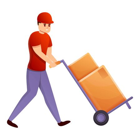 Courier with box cart icon. Cartoon of courier with box cart vector icon for web design isolated on white background