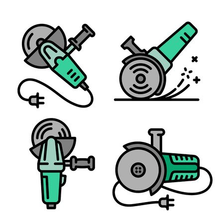 Angle grinder icons set. Outline set of angle grinder vector icons for web design isolated on white background