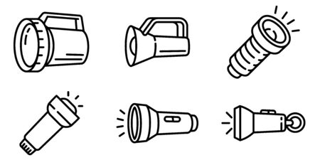 Flashlight icons set. Outline set of flashlight vector icons for web design isolated on white background Ilustracja