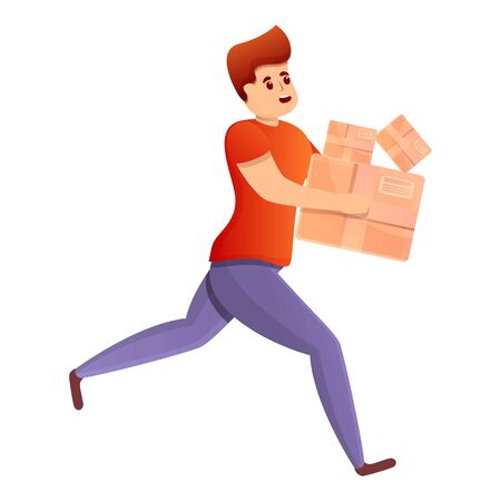 Running quickly courier icon. Cartoon of running quickly courier vector icon for web design isolated on white background Vectores