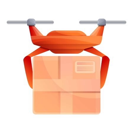 City drone delivery icon. Cartoon of city drone delivery vector icon for web design isolated on white background Ilustração