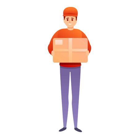 Postman parcel icon. Cartoon of postman parcel vector icon for web design isolated on white background
