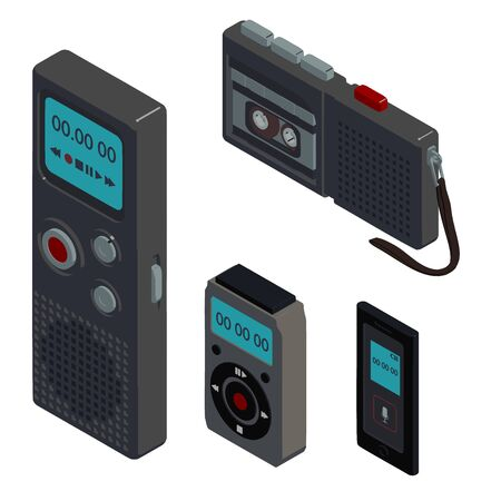 Dictaphone icons set. Isometric set of dictaphone vector icons for web design isolated on white background Illustration