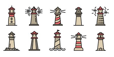 Lighthouse icons set. Outline set of lighthouse vector icons for web design isolated on white background