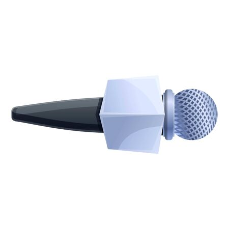 Tv reporter microphone icon. Cartoon of tv reporter microphone vector icon for web design isolated on white background