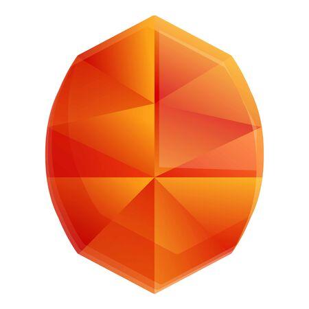 Orange gem shape icon. Cartoon of orange gem shape vector icon for web design isolated on white background