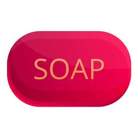 Red soap icon. Cartoon of red soap vector icon for web design isolated on white background Vettoriali