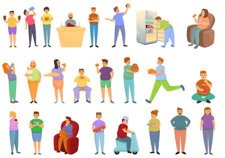 Gluttony icons set. Cartoon set of gluttony vector icons for web design