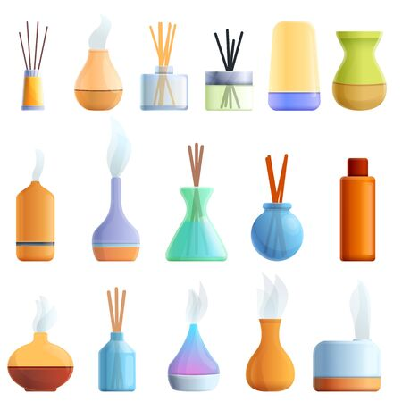 Diffuser icons set. Cartoon set of diffuser vector icons for web design