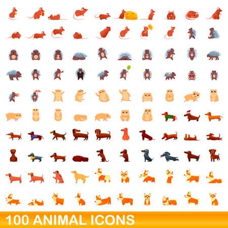 100 animal icons set. Cartoon illustration of 100 animal icons set isolated on white background